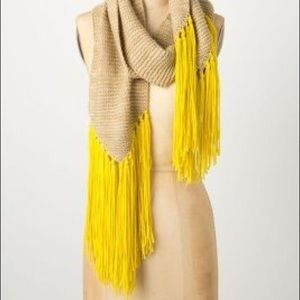 Anthropologie Selma Fringe Scarf Tan & Yellow